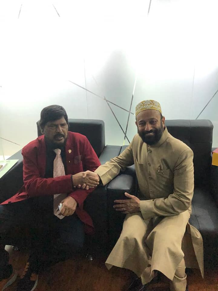 Dr. Mustafa Saasa with H.E. Ramdas Athawale - Honorable Union Minister of State for Social Justice and Empowerment, Govt. of India at Maple Leaf, Dubai - UAE on 27th January 2020.