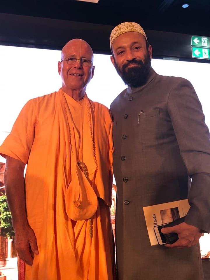 "Dr. Mustafa Saasa with HH BB Govinda Swami - Director of Spiritual Center, Almaty - Kazakhstan during the event ""Awakening the Soul"" on the theme of ""Unity in Diversity"" at Waldorf Astoria, Dubai – UAE on 31st January 2020."