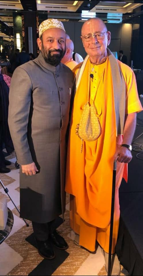 "Dr. Mustafa Saasa with HH Sivaramswami the Hungarian Monk & Director of Spiritual Center, Hungary during the event ""Awakening the Soul"" on the theme of ""Unity in Diversity"" at Waldorf Astoria, Dubai – UAE on 31st January 2020."