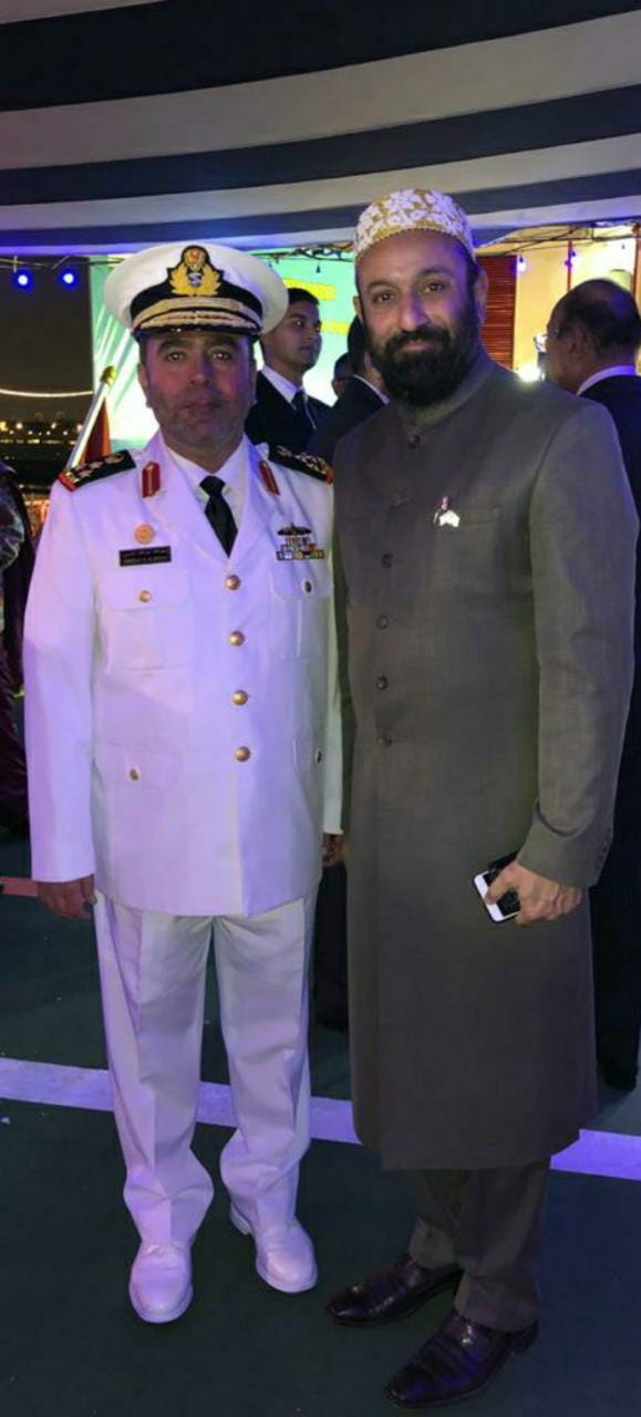 Dr.  Mustafa Saasa with Brigadier Abdulla Al Shehhi - Deputy Commander of UAE Navy During On Board Reception of Indian Coast Guard Ship - Samudra Pehredar at Port Rashid, Dubai – UAE on 2nd February 2020.
