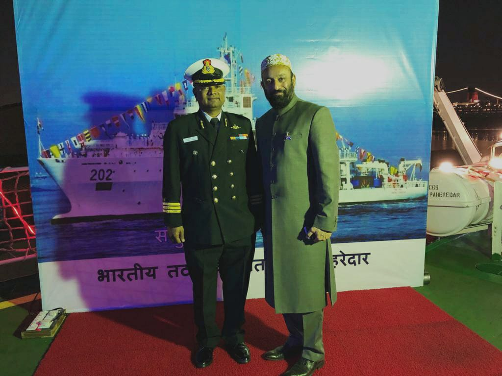 Dr.  Mustafa Saasa with Commander S Zakir Husain - Deputy Commanding Officer of Indian Coast Guard Ship - Samudra Pehredar during On Board Reception at Port Rashid, Dubai – UAE on 2nd February 2020.