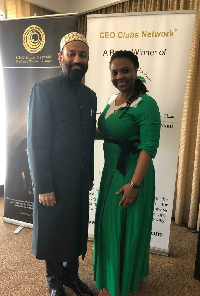 Dr. Mustafa Saasa with H.E. Rose-Ann Benjamin - Consul General of Grenada to UAE