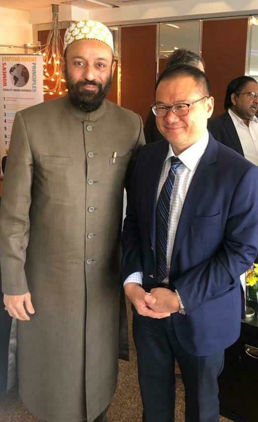 Dr. Mustafa Saasa with H.E.  Low Pit Chen – Consul General of Singapore to Dubai – UAE