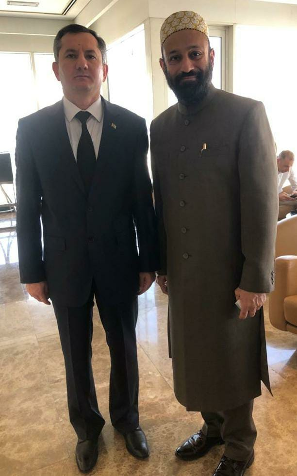 Dr. Mustafa Saasa with H.E. Serdarmammet Saparmammedovich Garajaev - Ambassador Extraordinary and Plenipotentiary of Turkmenistan to UAE